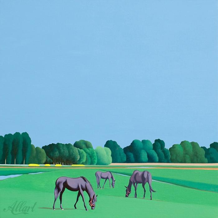 Three Horses / 50x50cm / oil / © Jeroen Allart / 2020